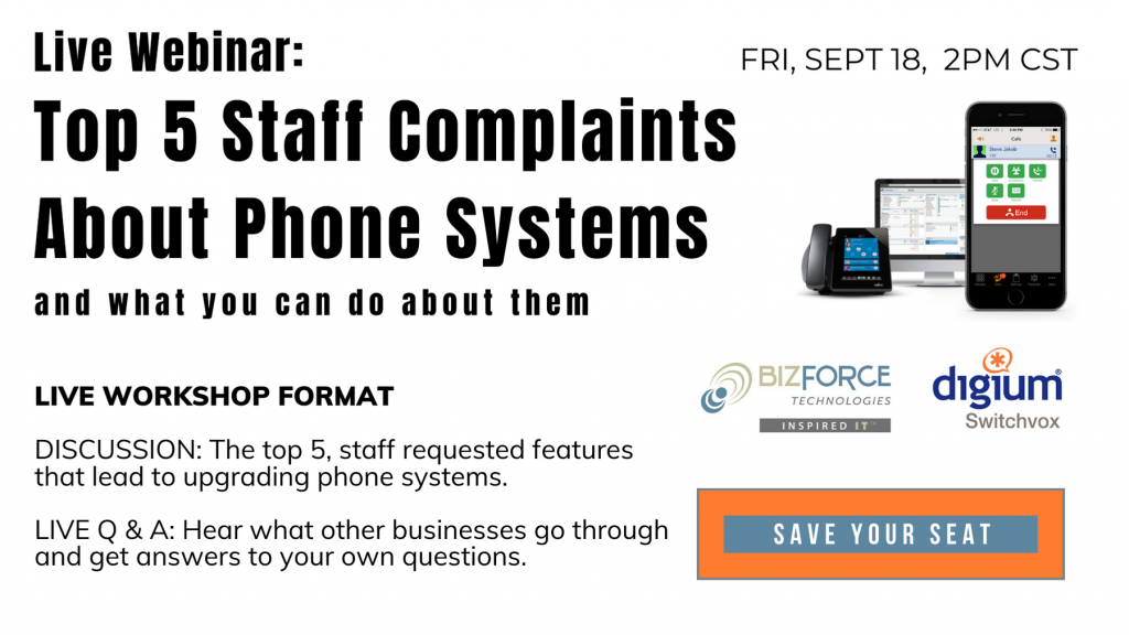 sign up button for webinar 9-18-20 2pm CST The top 5 staff complaints about phone systems